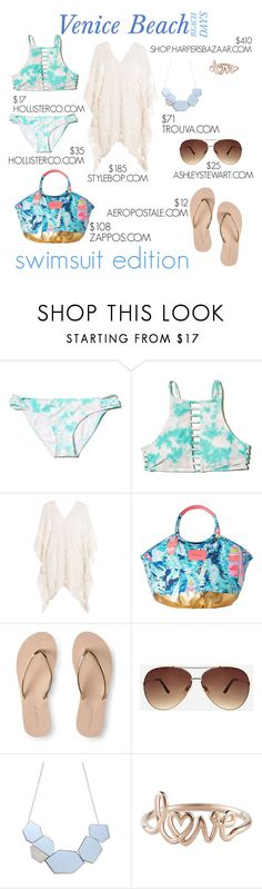 """""""Beach Days: Swimsuit Edition"""" by nerdynic10 ❤ liked on Polyvore featuring Hollister Co., Eberjey, Lilly Pulitzer, Aéropostale and Ashley Stewart"""