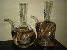 carafe pentru vin lucrate manual , cu buzunar pentru gheata , contact , octav39_2006@yahoo.com Custom Glass, Wine Decanter, Barware, Business, Metal, Unique, Decor, Art, Atelier