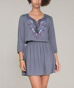 Look at this #zulilyfind! Charcoal Embroidered Blouson Dress #zulilyfinds