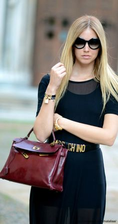 hermes bag; yes. in this garnet color. is this Rachel Zoe? I think so.