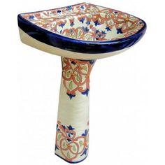 Beautiful Hand Painted Talavera Pedestal Sink San Lucas In A Unique Design