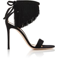 Gianvito Rossi Women's Fringed Ankle-Tie Sandals ($399) ❤ liked on Polyvore featuring shoes, sandals, colorless, black fringe sandals, high heel shoes, ankle strap sandals, black high heel shoes and ankle wrap sandals