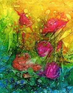 """""""Poppies"""" Alcohol ink painting on yupo"""
