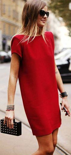 best office outfit idea / red dress and clutch