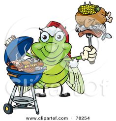 Cicada Food | Grilling Cicada Wearing A Santa Hat And Holding Food On A Bb... by ...
