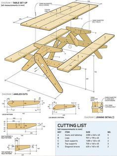 Woodworking For Beginners How To Build A Classic Picnic Table. Free Printable Woodworking Plans For Kids Kids Woodworking Projects, Woodworking Patterns, Woodworking Jigs, Woodworking Furniture, Diy Wood Projects, Furniture Plans, Woodworking Classes, Wood Furniture, Woodworking Workshop
