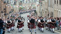 Galashiels Pipe Band coming up Scott Street on Braw Lads Day Scotland Tours, Scotland Travel, Tartan Kilt, Uk Holidays, Our Town, Kilts, Window Displays, Where The Heart Is, Family History