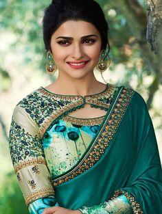Prachi Desai Green Satin Silk Plain Saree With Designer Blouse. Not the typical saree. Prachi Desai Green Satin Silk Plain Saree With Designer Blouse. Not the typical saree. Indian Blouse Designs, Blouse Back Neck Designs, New Saree Blouse Designs, Choli Designs, Fancy Blouse Designs, Bridal Blouse Designs, Lehenga, Anarkali, Stylish Blouse Design