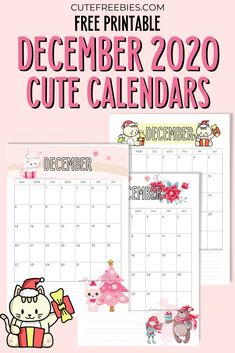 Free Printable December 2020 Calendar - Cute Freebies For You Calendar Themes, Cute Calendar, Free Printable Calendar, 2021 Calendar, Printable Planner, Free Printables, Planner Pages, Monthly Planner, Sticker Organization