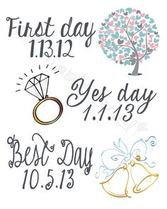 First Day Yes Day Best Day Print CUSTOMIZABLE Print; Wedding, Anniversary, Engagement, Personalized Love Story by PrintableLovelies