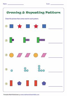 Here's a page with a wealth of growing and repeating pattern pages. Printable Math Worksheets, Kindergarten Math Worksheets, Math Literacy, Math Classroom, Math Resources, Teaching Math, Math Math, Numeracy, First Grade Activities