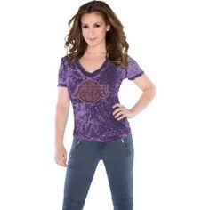 Los Angeles Lakers Women's Fade Route Crystals V-Neck T-Shirt - by Alyssa Milano @Lakers #Lakers
