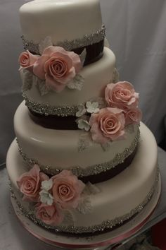 Romantic blush pink, brown, and ivory wedding cake with silver sugar pearls -from the Chocolate Pi blog