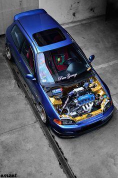 EG4 BLUE D16y8 by peter                                                                                                                                                                                 More Honda Vtec, Honda Civic Hatchback, Civic Jdm, Honda Civic Si, Honda Prelude, Tuner Cars, Jdm Cars, Honda Cars, Japan Cars