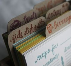 recipe cards: handprinted and lovely