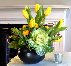 Floral Arrangement ~ yellow, green ~  by Chelsea Floral Designs