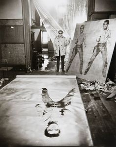 Andy Warhol in his studio with Elvis Presley print, New York, 1962. By Evelyn Hoffer