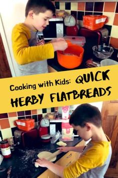 Cooking with Kids: Quick Herby Flatbreads - a super simple recipe for making your own flatbreads with kids. Includes a link to additional learning materials about break making. Other Recipes, Great Recipes, Baking With Kids, Baby Led Weaning, Fun Cooking, Bread Baking, Super Simple, Life Skills, Kids Playing