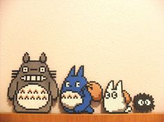 Set of 4 Perler Bead Totoro Characters Decoration.