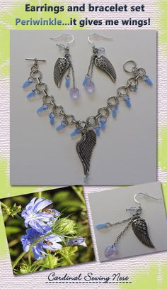 Periwinkle beads and wings charms Bespoke bracelet and earrings set