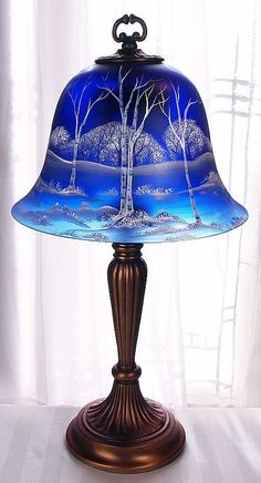 "Fenton Glass WHITE BIRCH on COBALT BLUE SATIN 22.5"" BELL LAMP Artist Sample VIP!"