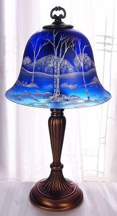"Fenton Glass White birch on colbalt blue satin 22.5"" Bell lamp Artist Sample VIP!     ღ♥Please feel free to repin ♥ღ   http://www.myvictorianantiques.com/portero-luxury/#"