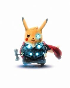 Thor Pikachu by Bosslogic - Marvel Universe Pikachu Pikachu, Deadpool Pikachu, O Pokemon, Pokemon Fusion, Pokemon Cards, Marvel Art, Marvel Comics, Marvel Vision, Poster Marvel