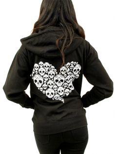 """Unisex """"Skully Heart"""" Zip-Up Hoodie by Inked x Cartel Ink"""