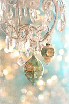 Listing is for 8x12 fine art print. Pastel holiday photograph in green,aqua and white.    Vintage glass Christmas ornaments hanging from a