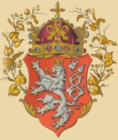 Wappen des Königreichs Böhmen (Coat of arms of the Kingdom of Bohemia) -- «Oesterreichisch-Ungarische Wappenrolle», von Hugo Gerard Ströhl, Vienna, 1890.