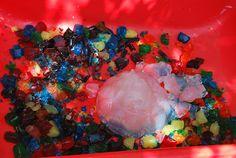 Sensory Bin. Colored Jello. Pinned by The Sensory Spectrum, wp.me/280vn.