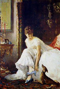 Ancona, Vito d', (1825-1884), Signora in Bianco, Oil