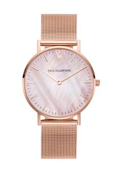 Description New: The Paul Valentine Rosé Gold Pink Seashell ✨ Featuring a pearl dial with a natural, one-of-a-kind, color pattern, which makes each timepiece entirely unique. Specifications Case Stainless Steel 316LCase Size 36 mmCase Thickness 7 mmCase Color Rosé GoldMovement Miyota GL20 QuartzWater Resistant 5 ATMDial Color Real Pearl Strap Stainless Steel MeshStrap Width 18 mm Interchangeable Straps Yes