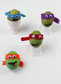 Teenage mutant ninja turtle decorated eggs. These TMNT eggs are totally cowabunga dude. Turn hard boiled eggs into heros in a half shell!  The perfect Easter craft for kids.