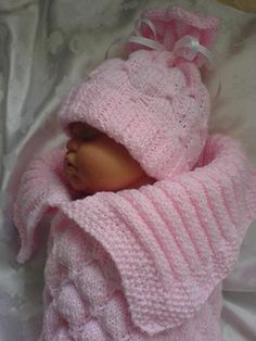 A knitting pattern to make a beautiful butterfly effect, textured Cocoon & matching Hat for Reborn Doll 18-22 inches or 0-3 months baby, this is made using double knitting shimmer yarn