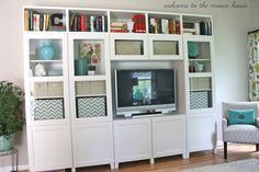 IKEA Besta shelves for a TV wall unit, replicates a built-in feel. New Living Room, Home And Living, Home And Family, Family Rooms, Entertainment Center Wall Unit, Room Shelves, Trendy Home, Home Office Furniture, Room Inspiration