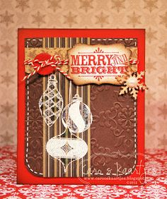 Grunged & Stitched Christmas Ornament Card...@ ro's cards: In the Christmas mood.