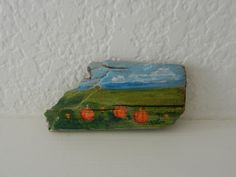 PUMPKIN PATCH> Miniature driftwood painting of pumpkin patch. Cute country farm miniature landscape. Blue skies and mountains. by PTMileHighRecovery on Etsy