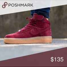 Suede Air Force One's Perfect condition. NEW WITH BOX. burgundy red color. Nike Shoes Sneakers