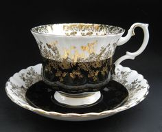 "This is the one, this is the tea cup and saucer that I want. Now to find it. Searched ""Royal Albert Regal Series Black"" (Ugh, $25-$30 for one cup/saucer set on ebay & etsy.)"