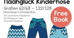 Die Kinderhose ist schnell genäht und kommt in 3 Varianten daher: Mit verstecktem Bündchen, Umschlagsaum oder normalem Bündc...