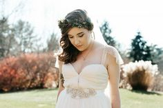 fall wedding in asheville, nc. flower crown