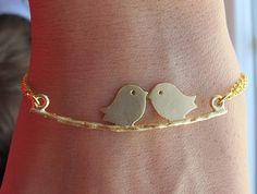 Kissing Love Birds BRACELET. Couple. Two Love by RoyalGoldGifts