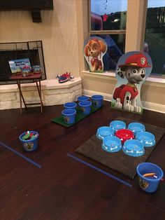 Paw Patrol party game. Rubbles bean bag toss