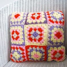 Put those granny squares to good use with this simple crochet cushion pattern. Link to freebie pattern (or you can find on Pinterest) Basic Granny. Thanks so , lovely colours xox