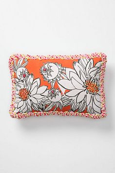 Marina Pillow, Rectangle - 12X18 great details, french knots fun edging, different fabric on back.  Anthropologie.com