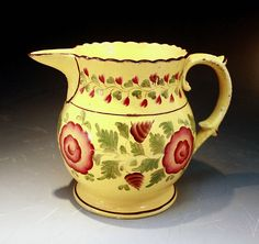 ANTIQUE CANARY YELLOW POTTERY PITCHER C1815