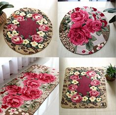 New arrival rose floor rug bedroom kitchen door mat house decorative carpet multi design free shipping