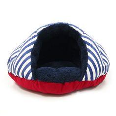 Burger Bed Small Dog Snuggle Bed - Nautical | PupLife Dog Supplies