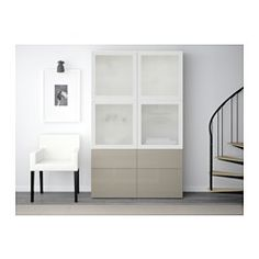 BESTÅ Storage combination w/glass doors, white, Selsviken high gloss/beige frosted glass - 120x40x192 cm - drawer runner, push-open - IKEA